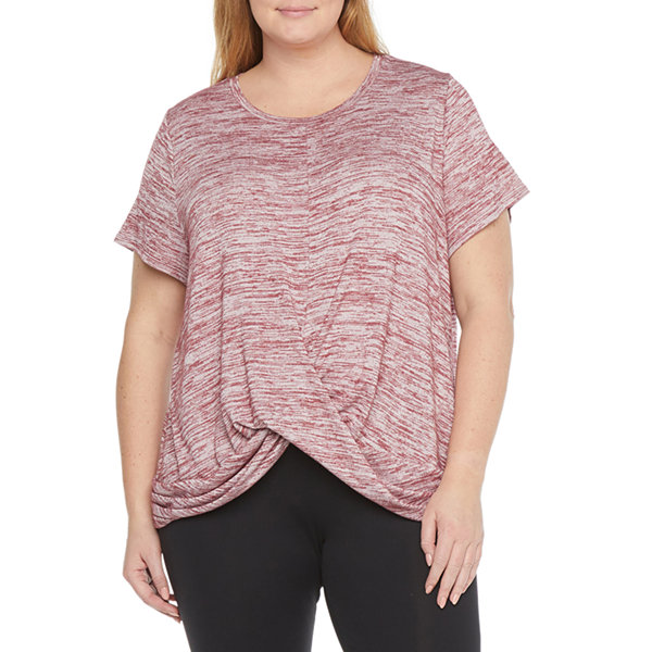 Stylus Twist Front Womens Plus Round Neck Short Sleeve T-Shirt