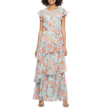 1930s Day Dresses, Afternoon Dresses History R  K Originals Short Sleeve Floral Maxi Dress 12  Blue $66.75 AT vintagedancer.com