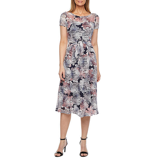 Perceptions Short Sleeve Floral Midi Fit & Flare Dress