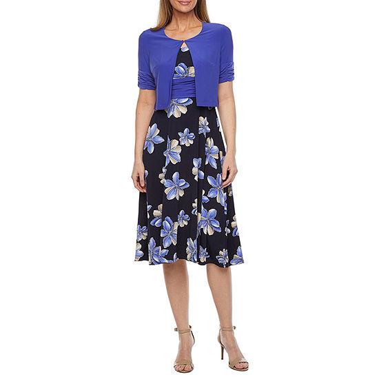 Perceptions Short Sleeve Floral Puff Print Midi Jacket Dress