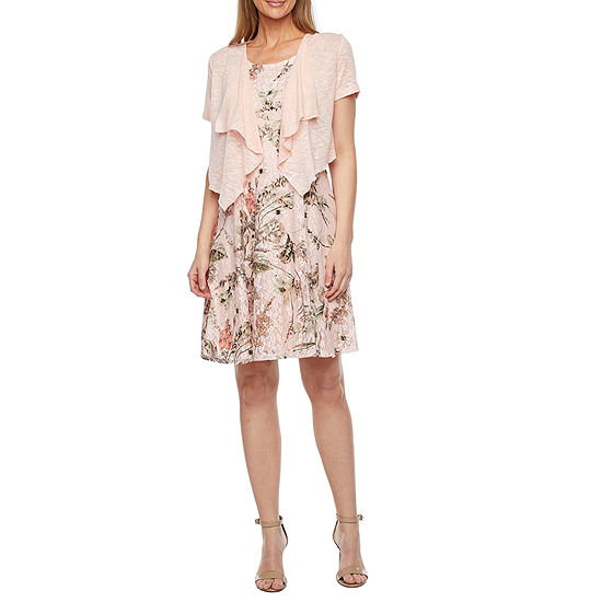 Perceptions Short Sleeve Printed Lace Jacket Dress