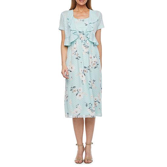Perceptions Short Sleeve Floral Midi Jacket Dress
