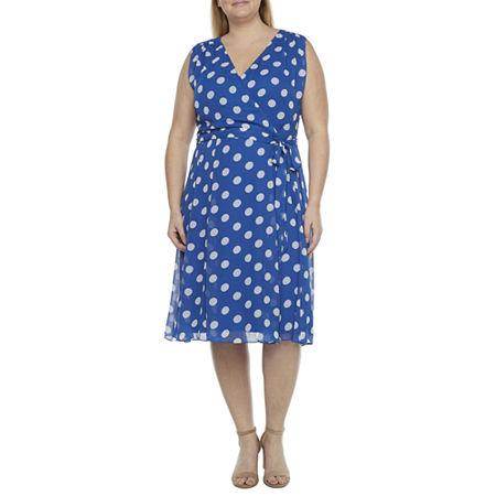 1950s Dresses, 50s Dresses | 1950s Style Dresses Danny  Nicole-Plus Sleeveless Polka Dot Fit  Flare Dress 24w  Blue $43.99 AT vintagedancer.com