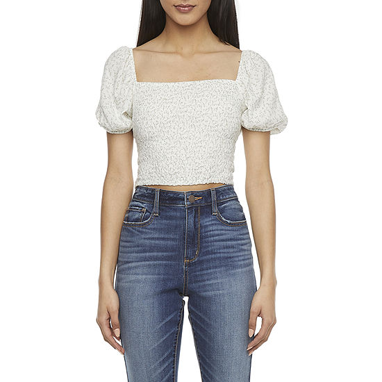 Arizona-Juniors Womens Square Neck Short Sleeve Blouse
