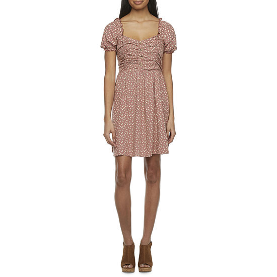 Arizona Short Sleeve Floral A-Line Dress-Juniors