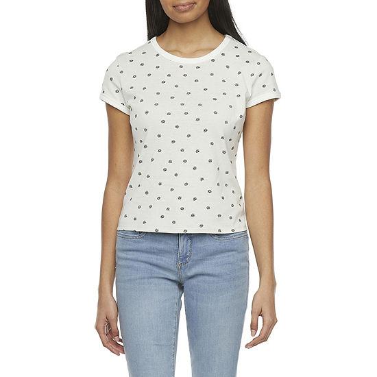 Arizona Womens Juniors Crew Neck Short Sleeve T-Shirt