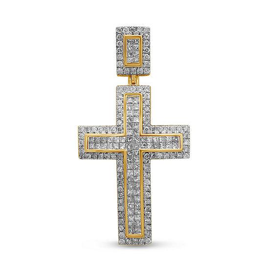 Mens 3 CT. T.W. Genuine White Diamond 10K Gold Cross Pendant