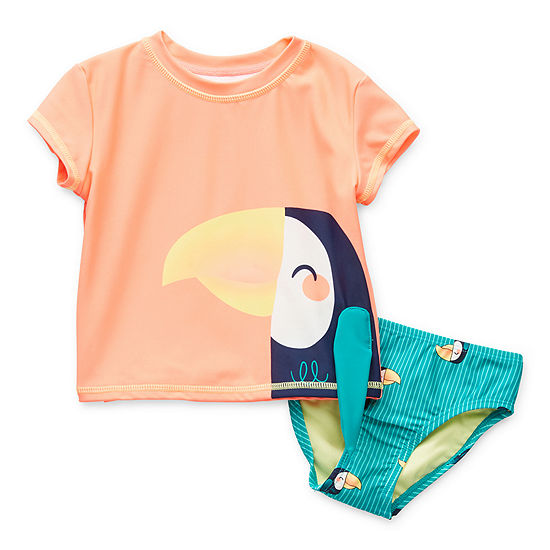 Okie Dokie Toucan Toddler Girls Animal Rash Guard Set