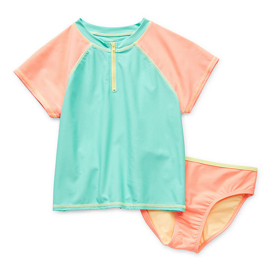 Arizona Little & Big Girls Rash Guard Set