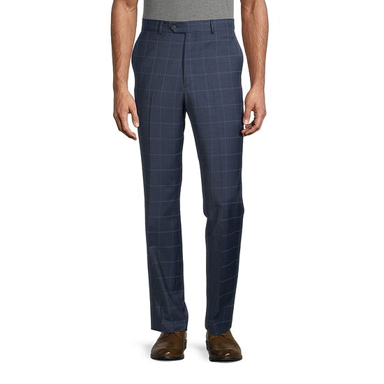 Stafford Mens Windowpane Stretch Classic Fit Suit Pants - Big and Tall