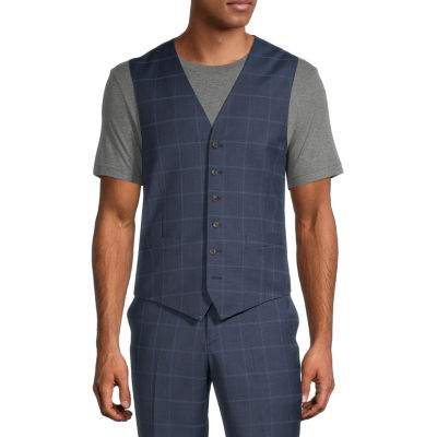 Stafford Mens Windowpane Stretch Classic Fit Suit Vest - Big and Tall