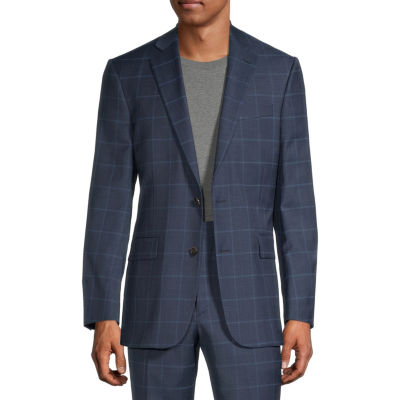 Stafford Mens Windowpane Stretch Slim Fit Suit Jacket