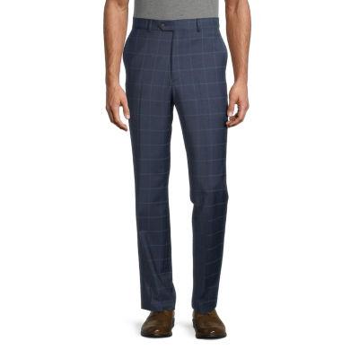 Stafford Mens Windowpane Stretch Slim Fit Suit Pants