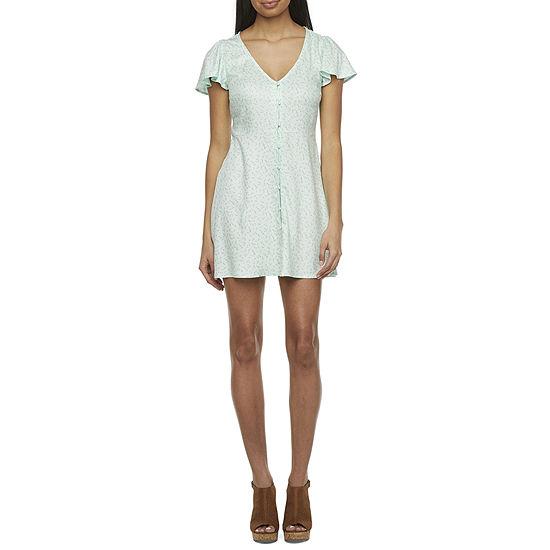 Arizona Juniors Short Sleeve Floral A-Line Dress