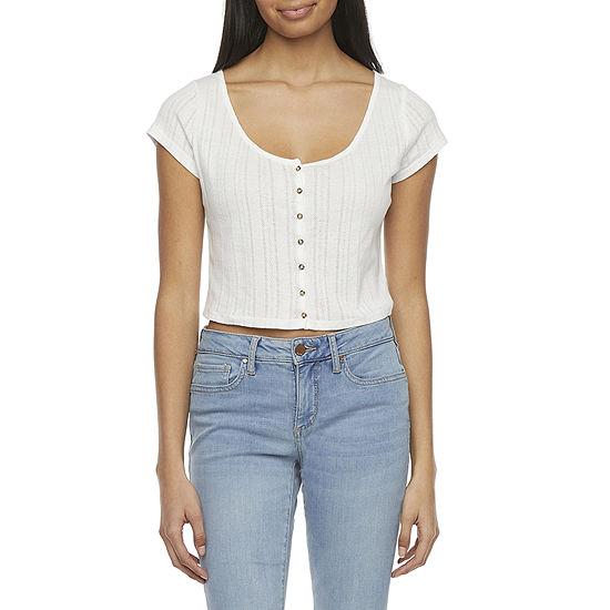 Arizona-Juniors Womens Short Sleeve Fitted Button-Down Shirt
