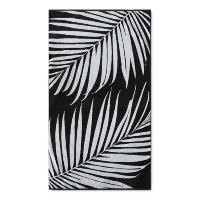 Loom + Forge Palm Leaf Organic Cotton Jacquard Beach Towel
