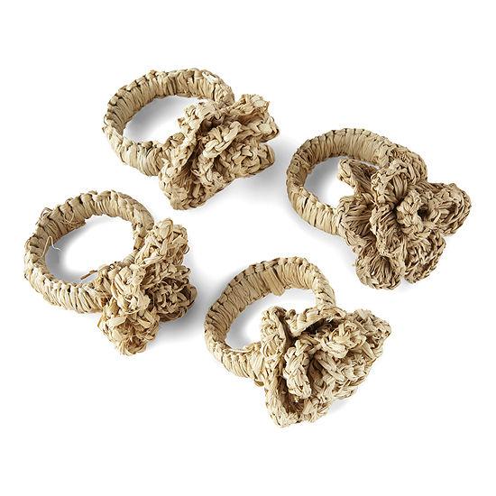 Homewear Rafia Flower 4-pc. Napkin Ring