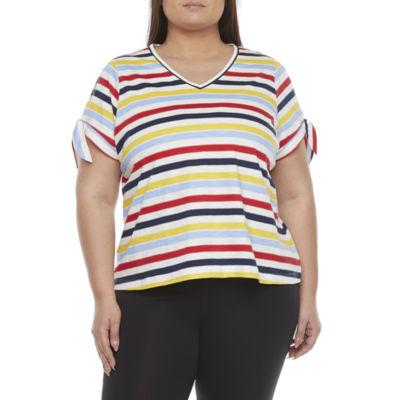 St. John's Bay Plus Womens V Neck Split Sleeve T-Shirt