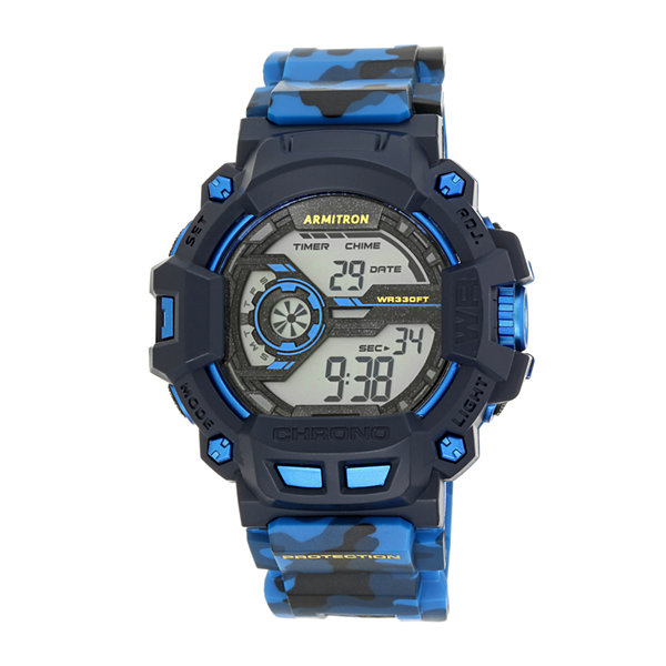 Armitron® Mens Blue Camo Digital Strap Watch