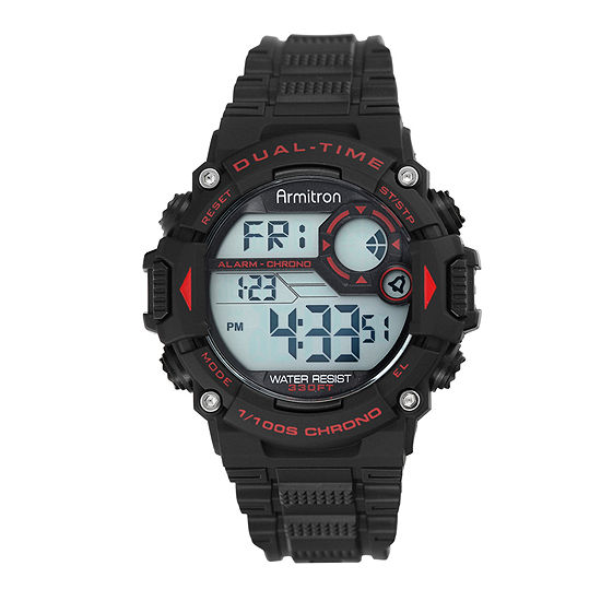 Armitron Pro Sport Mens Chronograph Digital Black Strap Watch-40/8356red