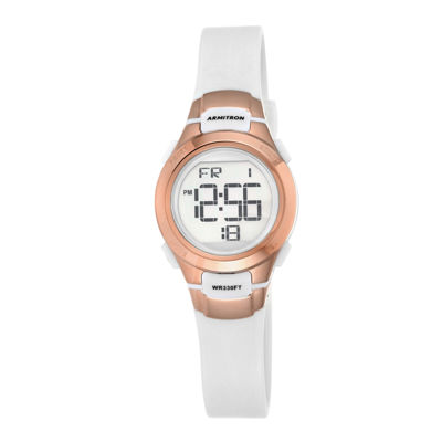 Armitron® Womens White and Rose-Tone Digital Chronograph Sport Watch