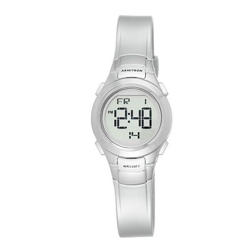 Armitron® Womens Silver-Tone Chronograph Digital Sport Watch