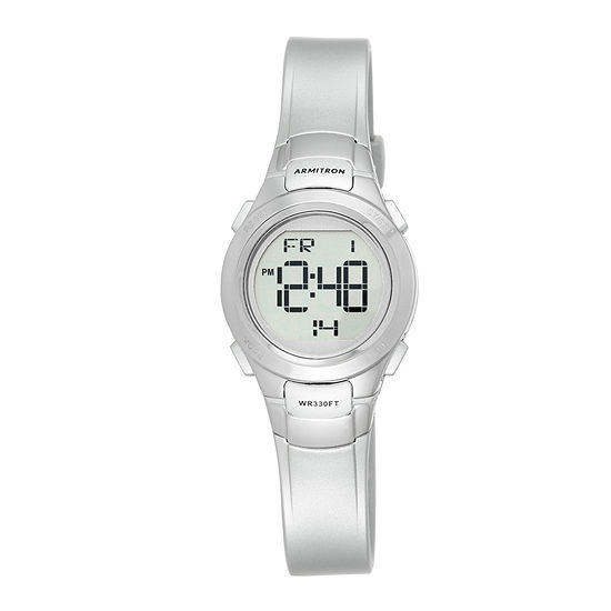 Armitron Pro Sport Mens Chronograph Digital Silver Tone Strap Watch-45/7012sil