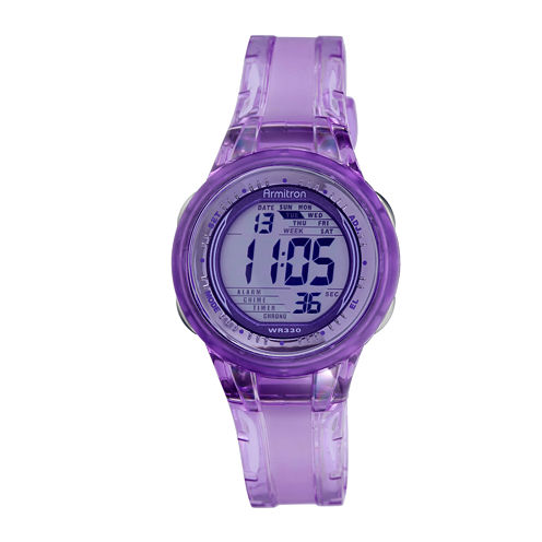 Armitron® Womens Purple Jelly Digital Sport Watch