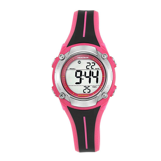 Armitron® Womens Black and Pink Digital Chronograph Sport Watch