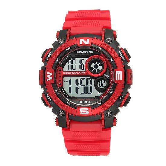 Armitron Pro Sport Mens Digital Red Strap Watch-40/8284rdbk