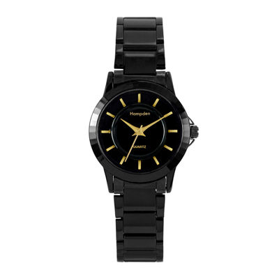 Hampden Womens Black-Tone Personalized Bracelet Watch