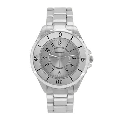 Hampden Mens Silver-Tone Personalized Bracelet Watch