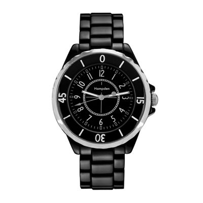 Hampden Mens Black-Tone Personalized Bracelet Watch