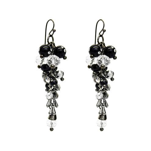 Aris by Treska Black Silver-Tone Cluster Drop Earrings