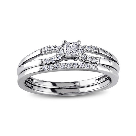 1/5 CT. T.W. Diamond Sterling Silver Bridal Ring Set