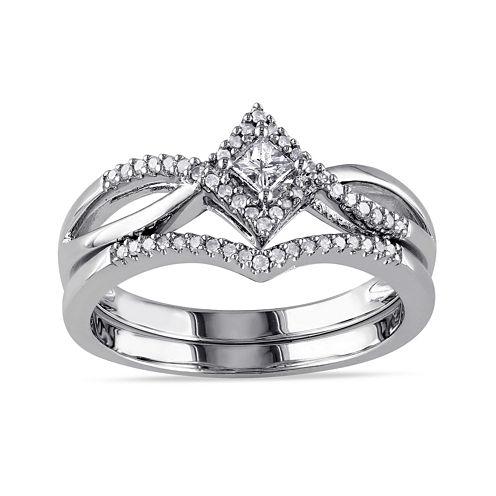 1/4 CT. T.W. Diamond Sterling Silver Bridal Ring Set