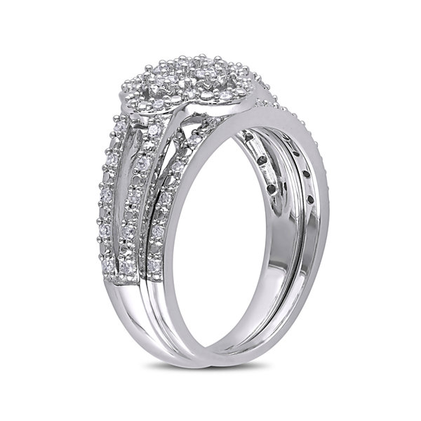 1/3 CT. T.W. Diamond Sterling Silver Bridal Ring Set