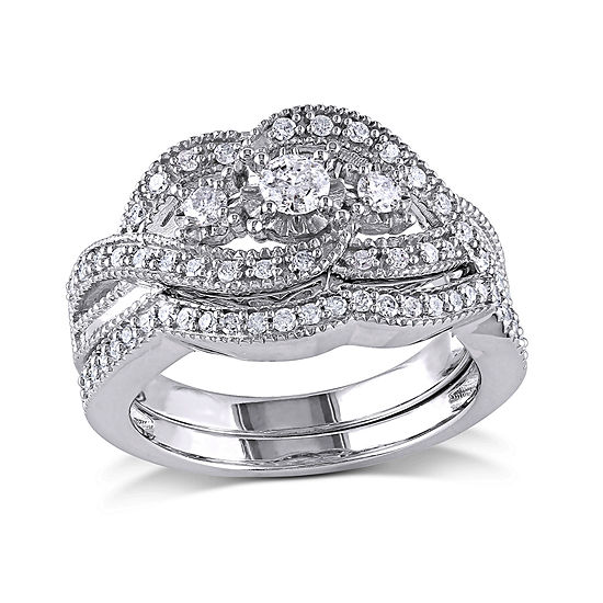 1/2 CT. T.W. Diamond Sterling Silver 3-Stone Bridal Ring Set