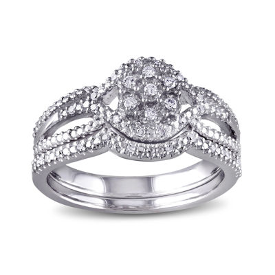 1/7 CT. T.W. Diamond Sterling Silver Bridal Ring Set