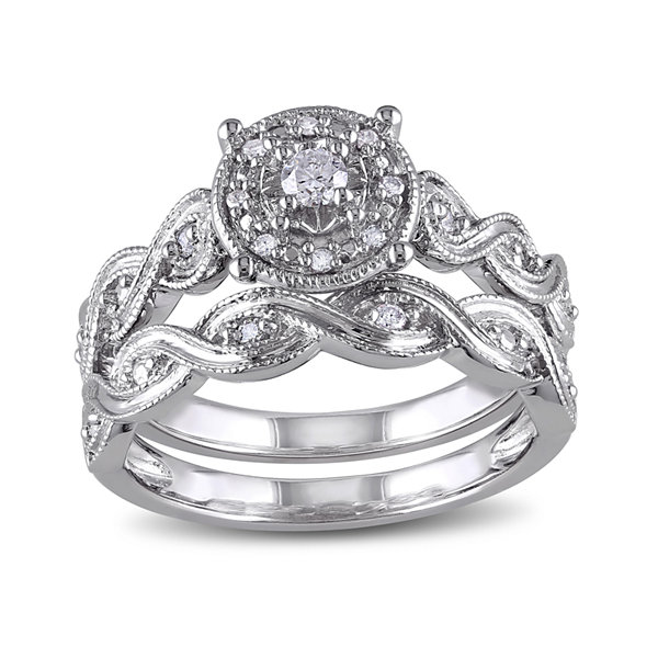 1/5 CT. T.W. Diamond Sterling Silver Bridal Ring Set