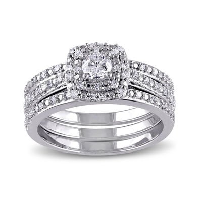 1/2 CT. T.W. Diamond Sterling Silver Bridal Ring Set