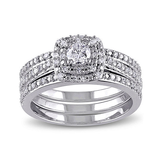 1 2 Ct Tw Diamond Sterling Silver Bridal Ring Set