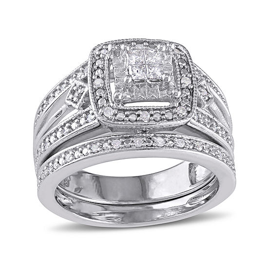 1/4 CT. T.W. Diamond Sterling Silver Bridal Ring Set