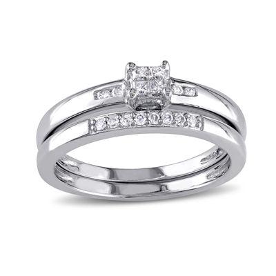 1/6 CT. T.W. Diamond Sterling Silver Bridal Ring Set