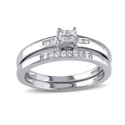 1/6 CT. T.W. Diamond Sterling Silver Bridal Ring Set