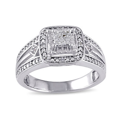 1 CT. T.W. Diamond Sterling Silver Princess Engagement Ring