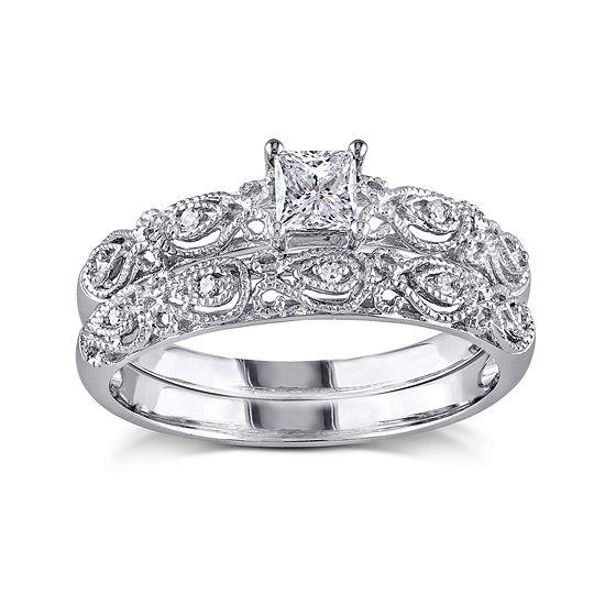 1/3 CT. T.W. Diamond 10K White Gold Bridal Ring Set