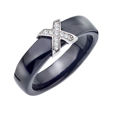 Diamond-Accent Sterling Silver and Black Ceramic Wedding Band