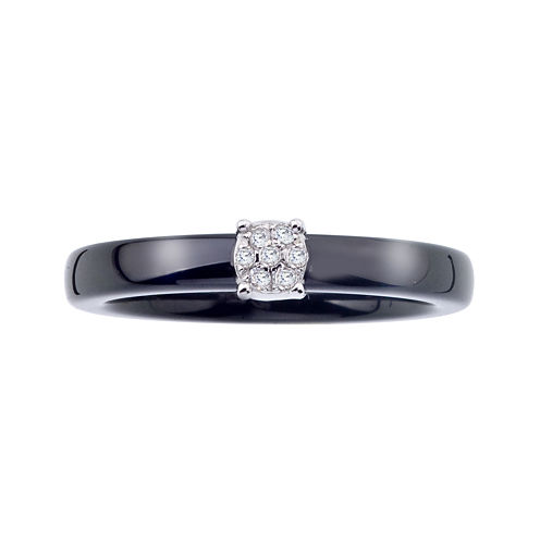 Diamond-Accent Black Ceramic and Sterling Silver Promise Ring