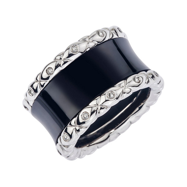 1/4 CT. T.W. Diamond Black Ceramic and Sterling Silver Wedding Band